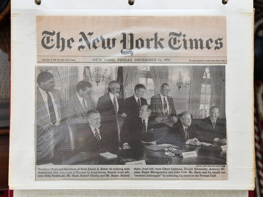 On Dec. 13, 1990, Coleman met with President George H.W. Bush at the White House with six fellow former hostages. He keeps this New York Times story in his scrapbook.