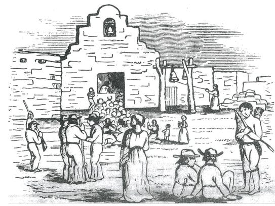 Drawing made in June 1860 of the Presidio San Agustin
