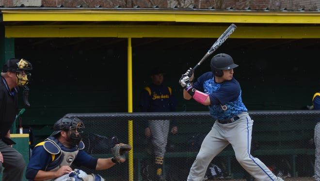 Senior catcher Garrett Parsons of Louisiana College (at bat) got two hits and came through with a two-out RBI single in the first inning against Howard Payne Sunday.
