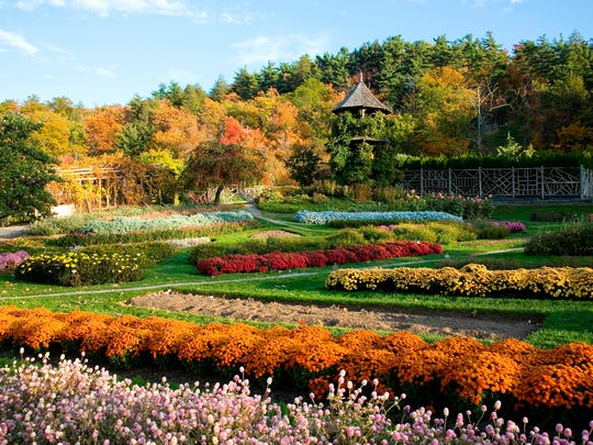 The gardens at Mohonk Mountain House in the fall.