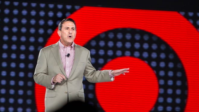 Target CEO Brian Cornell speaks at the Target employee meeting.