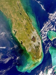 Space view of Florida on a clear day