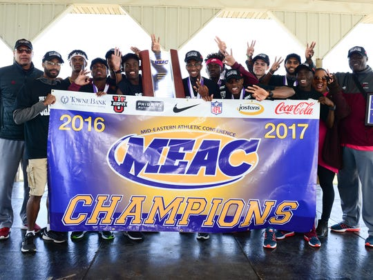 Maryland Eastern Shore's men's cross country team celebrates