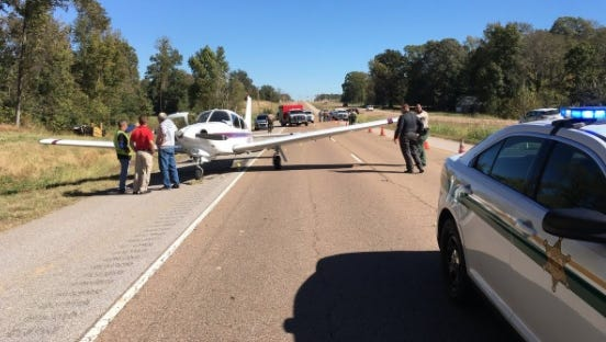 A small airplane on its way from Nashville to the Memphis area made an emergency landing Thursday on a highway in Tipton County.