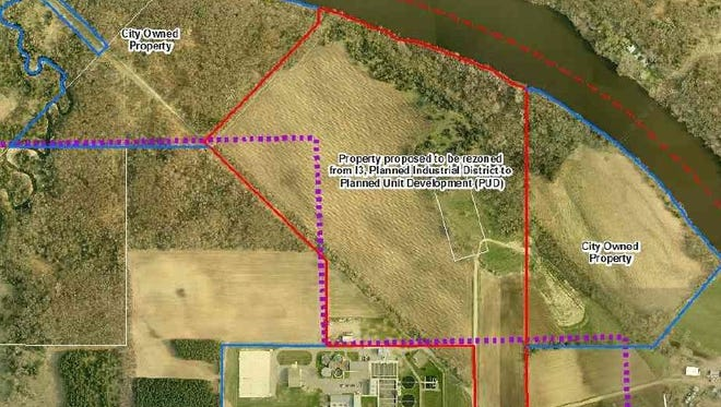 An aerial map shows the  site plan for the proposed community solar garden at St. Cloud's wastewater treatment plant.