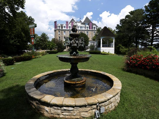 A fountain is shown on the grounds of the The Crescent Hotel in Eureka Springs.