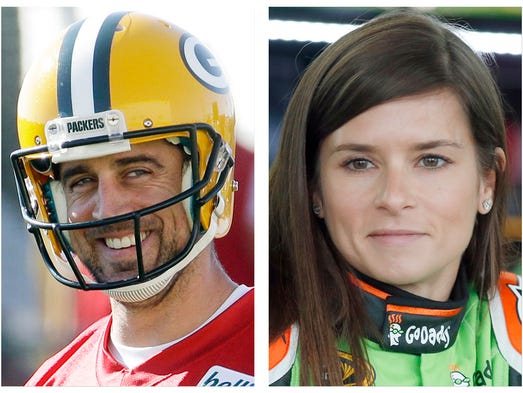 Aaron Rodgers (Green Bay Packers QB) and Danica Patrick