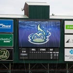 The scoreboard at Centennial Field during the Vermont Lake Monsters game against the Connecticut Tigers at Centennial Field on Monday night June 16, 2014 in Burlington. (BRIAN JENKINS, for the Free Press)