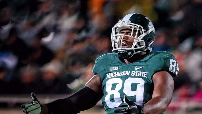 Oct 4, 2014; Michigan State Spartans defensive end Shilique Calhoun (89) reacts to a play during the 2nd half of a game at Spartan Stadium. Mandatory Credit: MSU won 27-22.
