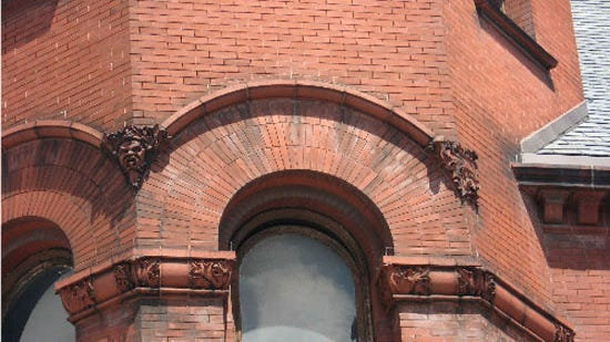 Detail on corner tower