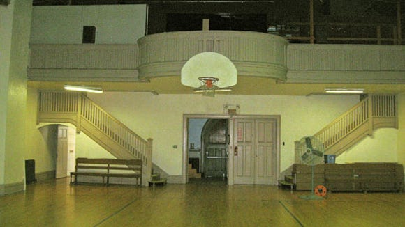 First floor of Gethsemane Hall, used as basketball court by youth center