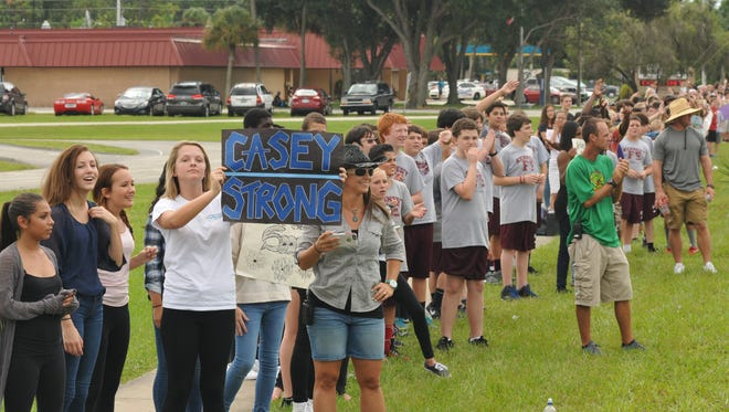 "Over 625 students from Kennedy Middle school on Fiske Blvd. Welcome home. Hundreds of people, including students from various schools, lined areas along the return route for BCSO Agent John ""Casey"" Smith, who was seriously wounded in an August  shooting in Port St. John."