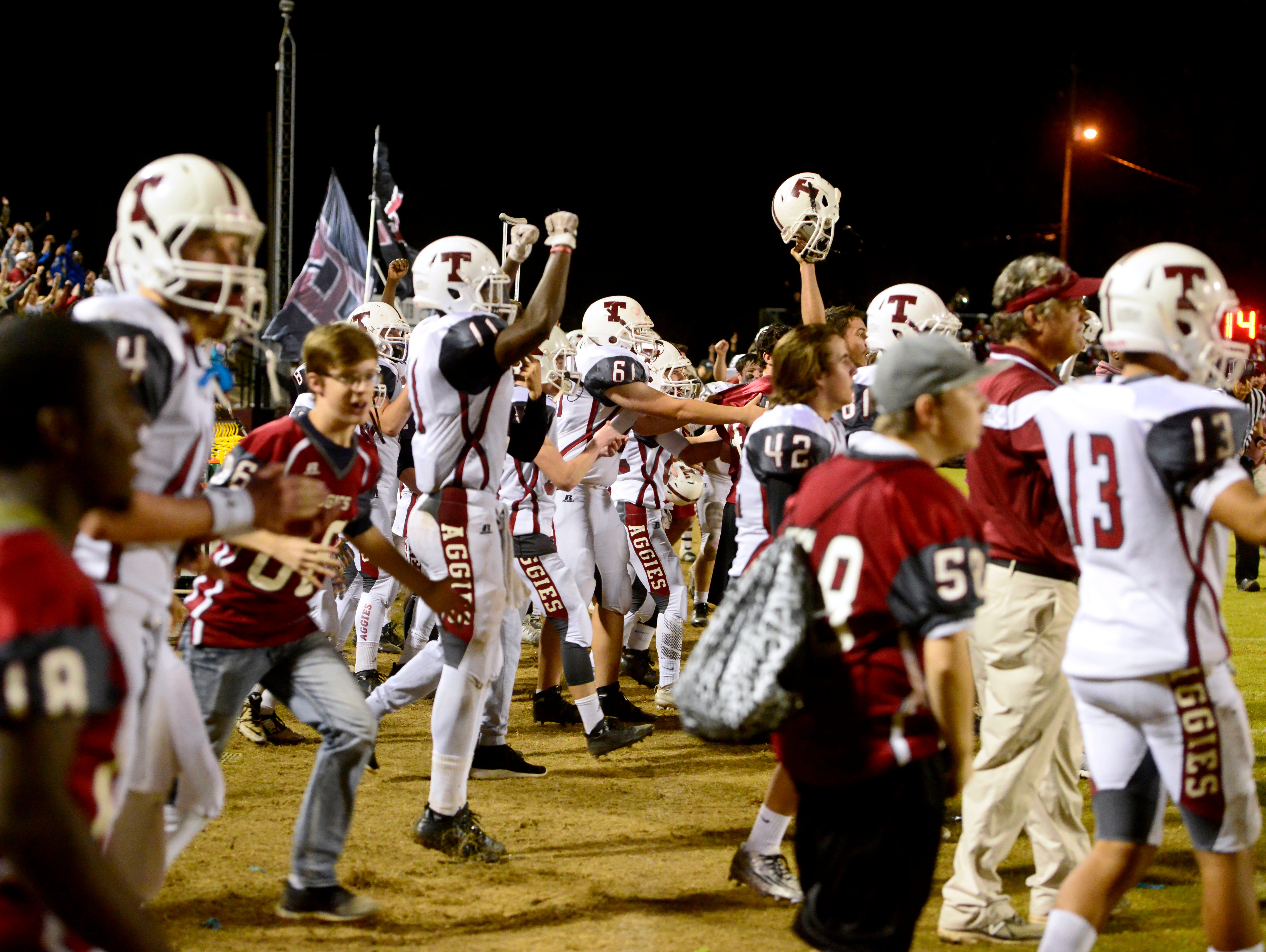 Tate High School players celebrate a close victory, 21-20, over Niceville on Friday and move on to Class 6A state semifinals.