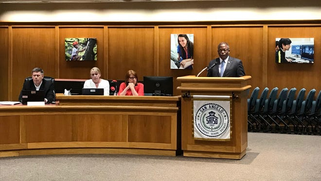 Ronnie Hawkins, a member of the San Angelo ISD's Long Range Facilities Planning Committee, presents the new bond proposal to the board of trustees Monday, Aug. 13, 2018.