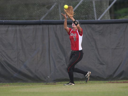 NFC's Lauren Chorey makes a catch in the outfield against Madison County during their game at North Florida Christian on Thursday, April 20, 2017.