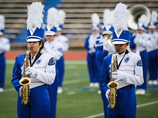 Eden High School marching band plays during the Concho Classic Marching Festival Saturday, Sept. 30, 2017, at San Angelo Stadium.
