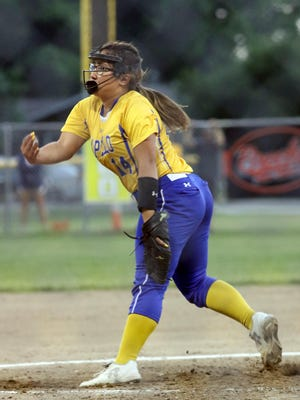 Wapello Indian's pitcher Anesa Noa hurls the ball during a game against the Tigers Friday in New London.