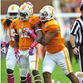 Chris Weatherd is congratulated by teammates after recording a sack against Chattanooga last season.