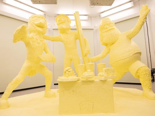 The 2020 Pennsylvania Farm Show butter sculpture features three of the state's professional sports mascots: Swoop, of the Philadelphia Eagles; Steely McBeam, of the Pittsburgh Steelers; and Gritty, of the Philadelphia Flyers. After the show, the sculpture will be turned into energy via a methane digester.