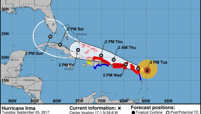 National Hurricane Center 5 p.m. update on Hurricane Irma, Sept. 5, 2017.