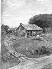 A drawing of the cabin where John T. Trowbridge was born, on what is now Spencerport Road.