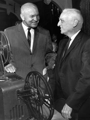 The subject was football, Ole Miss football, when Ole Miss head coach John Vaught (left) and Dr. Ferrell Varner got together on Dec. 8, 1964. Vaught coached the Rebels in four different decades. Varner was a long-time team doctor during the Vaught era.
