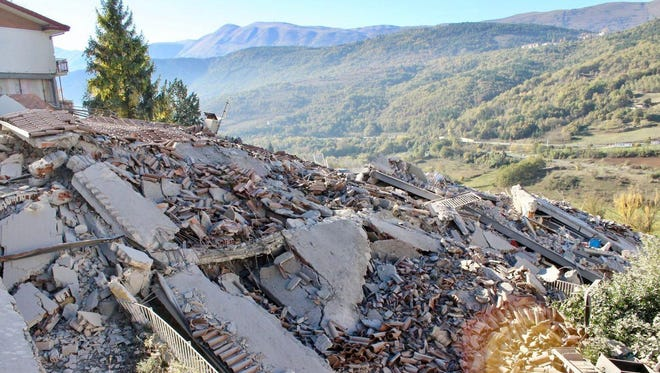 A building collapsed in L'Aquila after a strong earthquake on Oct. 30, 2016.
