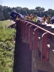Two people were killed and two others were seriously hurt in this accident Sunday on Highway 52 near Yankton.