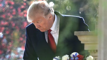 President Donald Trump lays a wreath on the grave of Andrew Jackson at The Hermitage in celebration of Jackson's 250th birthday.Wednesday March 15, 2017, in Nashville, TN