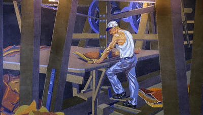 Artist Winold Reiss' mosaic mural of worker John A. Hentz at American Oak Leather which hangs in the gate area of the closed terminal 2 at the Cincinnati/Northern Kentucky International Airport. This and 17 other murals hung in the concourse of Cincinnati's Union Terminal until it was demolished in 1974.
