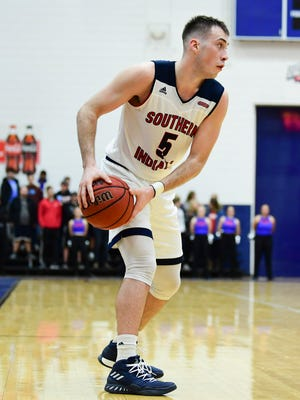 USI's Nate Hansen (5) during the second half against the Missouri Science and Technology Miners at USI's Physical Activities Center in Evansville, Ind., Thursday, Jan. 18, 2018. The Screaming Eagles defeated the Miners, 98-78.
