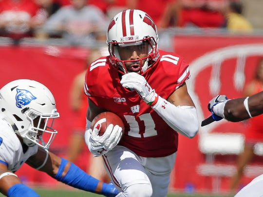 Jazz Peavy is back after leading the Badgers in receiving