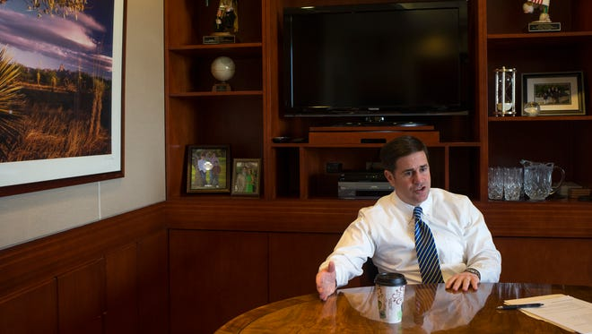 """When I'm talking to some people, the surprise is that I'm actually governing on the things I campaigned on around fiscal responsibility, focusing on the economy and focusing on these education issues, and I don't see that changing,"" says Gov. Doug Ducey."