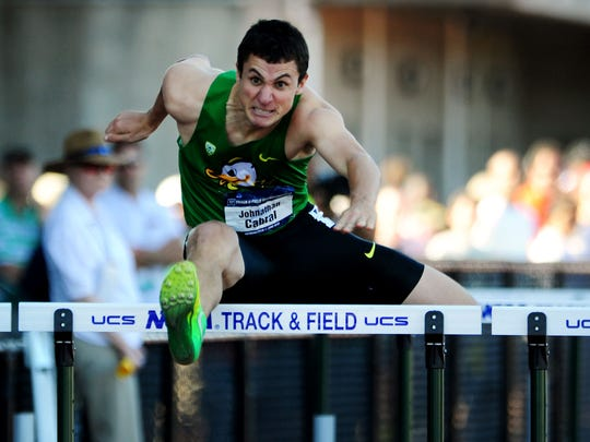 Oregon senior Johnathan Cabral competes in the 110 meter hurdles during the NCAA Men's Division I 2015 Outdoor Track & Field Championships at Hayward Field, on Wednesday, June 10, 2015, in Eugne, Ore.