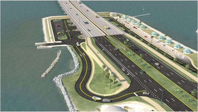 Artist rendering of what Wayside Park will look like after the new Pensacola Bay Bridge is built in about seven years based on current plans FDOT wants City of Gulf Breeze officials to sign off on.