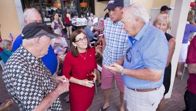 Rep. Martha McSally speaks to the Palo Verde Republican Women at a Scottsdale restaurant in May.