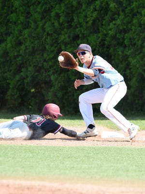 Livonia Franklin junior first baseman Ryan Celmer catches a pick-off attempt as Detroit Western's Logan Foster (11) dives back to the bag.