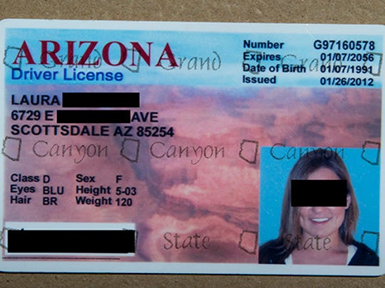 "How this fake ID was identified: ""Grand"", ""Canyon"" and ""State"" are typically invisible while looking at an Arizona Driver's License head-on. The words are best seen when the ID is tilted under a bright light."