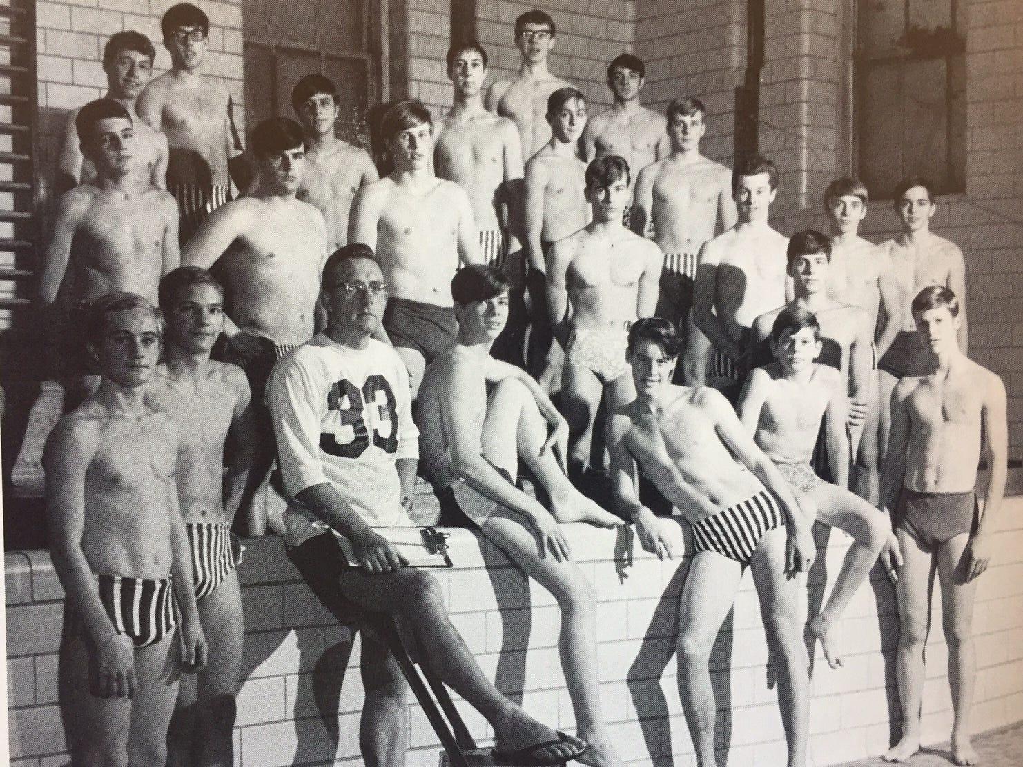 Male swim team shower locker