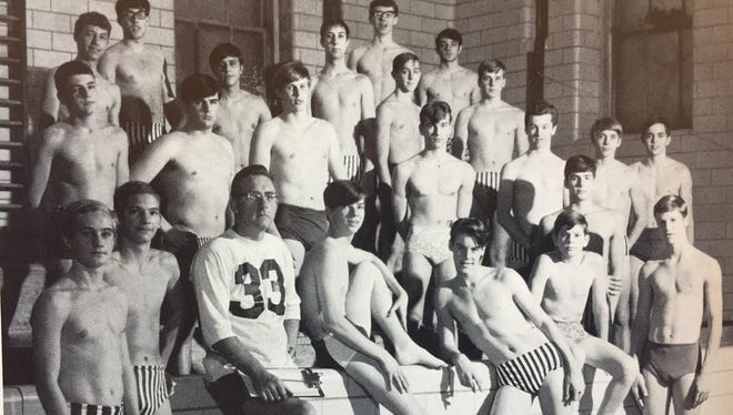 The 1968 Charlotte High School swim team. The school required boys to swim nude in gym class.