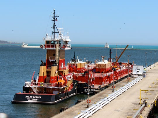The tug barge Dylan Cooper  loading ethanol at the Port of Milwaukee on April 30.