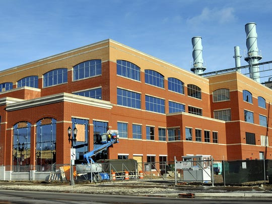 The Lansing Board of Water and Light's headquarters and REO Town cogeneration plant is shown under construction in 2012.