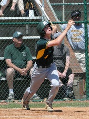 Will Vogelgesang lifts a three base hit to right field for McNicholas May 23.