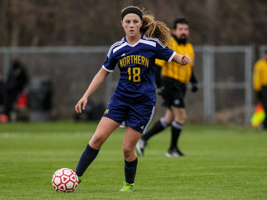Port Huron Northern's Hannah Jones works the ball down field during a soccer game Friday, April 29, 2016 at Port Huron Northern High School.