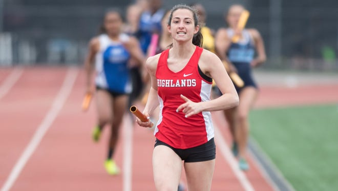 Bergen County Relays at River Dell High School on Friday, April 21, 2017. Olivia Florio, of Northern Highlands, competes in the 800 meter relay.