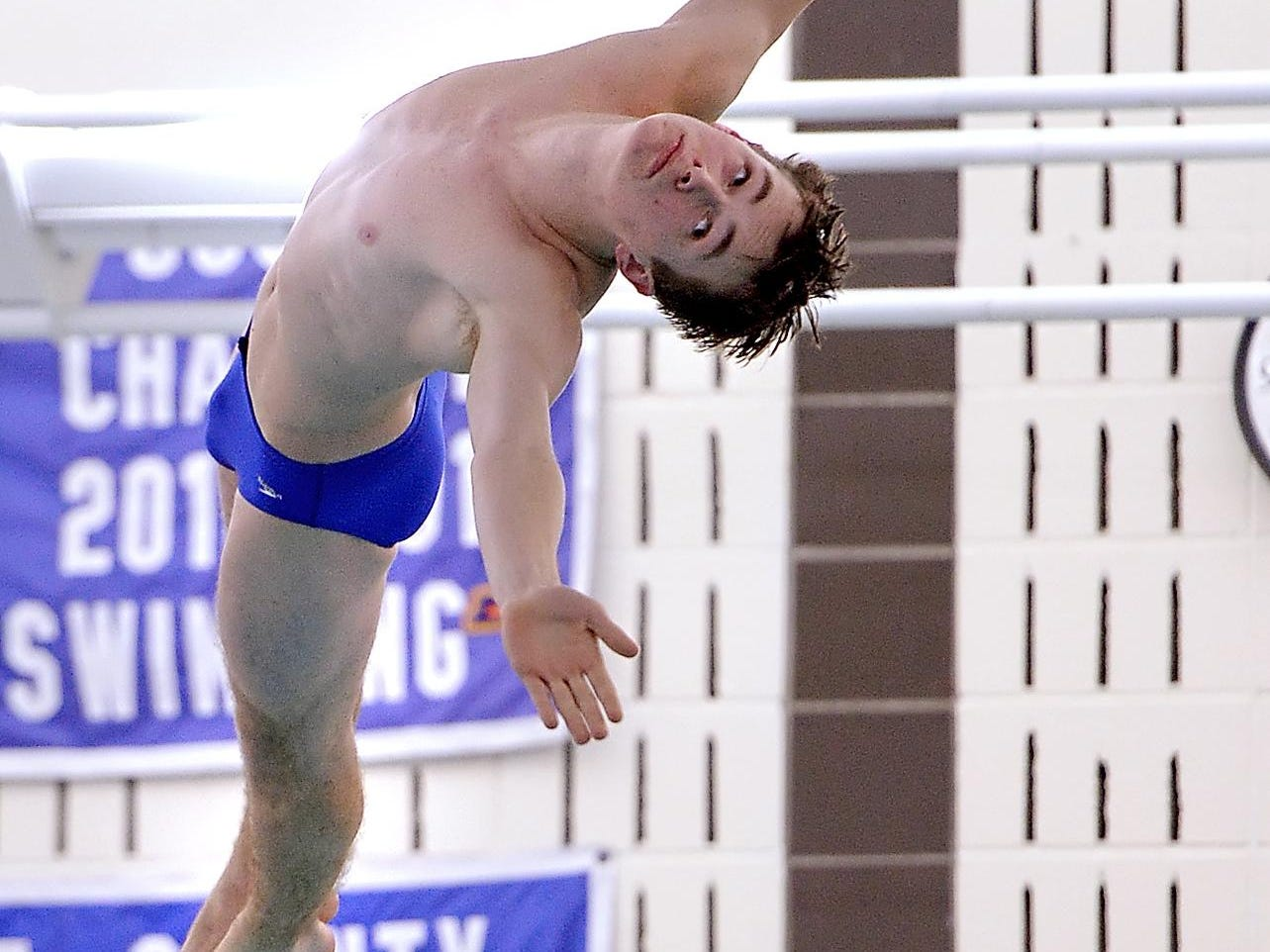 Brockport's Antonio Guerrieri performs a dive during a meet at Brockport High School on Thursday, Jan. 8, 2016.