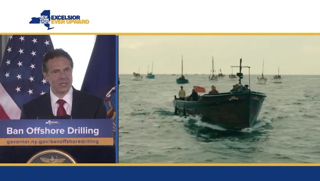"Gov. Andrew Cuomo spoke Friday, May 4, 2018, about leading a ""citizen fleet"" to block off-shore drilling in New York."