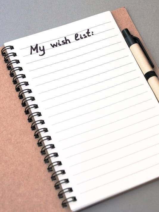 Hand drawing wish list on notebook