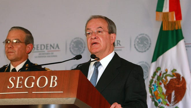 Alejandro Rubido Garcia , executive secretary for the Public Security System of Mexico, speaks during a press conference in Mexico City on Jan. 27, 2014, announcing the capture of Dionicia Loya Plancarte.