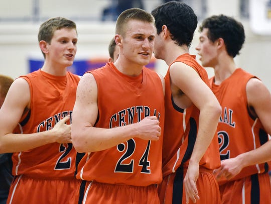 Central York's Jared Wagner (24) and his teammates